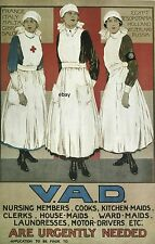 WW1 RECRUITING POSTER VAD VOLUNTARY AID DETACHMENT  BRITISH NURSE NEW A4 PRINT 2