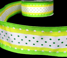 """2 Yds Fruity Polka Dot Stripe Wired Ribbon 1 1/2""""W- Rare & Discontinued Print"""