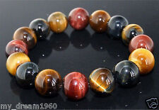 Men Jewelry 10MM Natural Colorful Tiger Eye Stone Gemstone Beads Bracelet Bangle