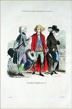 JEUNES GENS dans un PARC à la veille de la RÉVOLUTION -Gravure du 19° en couleur