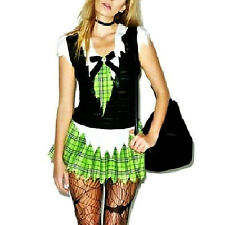 LiP SERVicE BRAiN DEAD ZoMBiE School Girl DREsS CoSTuME GREEN PLAiD SKiRT TOP L