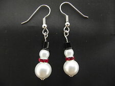 Pearly Snowman Christmas Earrings In Organza Bag - Secret Santa-Stocking Filler