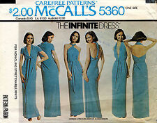1970's VTG McCall's The Infinite Dress Pattern 5360 Hip 32-38