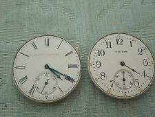 2 x Antique Waltham pocket watch movements, need work but complete & tick