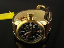 INVICTA MENS AVIATOR LARGE  51 MM LEFTY W THICK BROWN LEATHER  BAND & BLACK DIAL