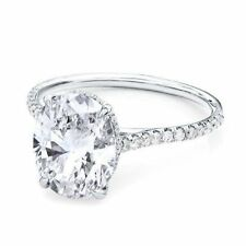 2.50ct Oval Solitaire Diamond Engagement Ring 14K White Gold Oval Diamond Ring