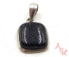 Sterling Silver Vintage 925 Square Dangle Onyx Charm Pendant (2.6g) - 553132