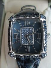 Judith Ripka Stainless Steel BLUE Mother of Pearl Diamonique MONACO WATCH w BOX