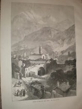 Opening of Mont Cenis Tunnel view of Susa Italy 1871 old print