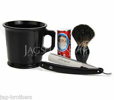 4PC SHAVING KIT STRAIGHT CUT RAZOR BADGER BRUSH MUG&ARKO SOAP