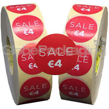 4000 x 'SALE €4' EURO Retail Self Adhesive Shop Price Labels Stickers 35mm