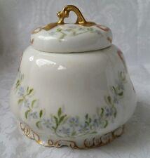 Antique Haviland CFH GDM France Limoges Sugar Bowl  Blue Flowers Gold Ribbons