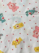 "VTG Care Bears Fabric Springs Industries 1985 White Red Hearts 45"" x 2 Yds +24"""