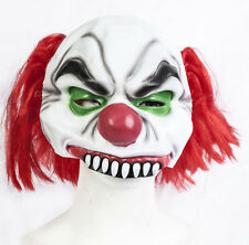 Halloween Half Head Killer Clown Latex Mask Costume Fancy Dress Evil Zombie