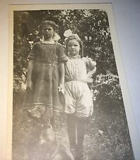 Antique American Adorable Young Girls & Pet Dog Real Photo Postcard RPPC! C.1913