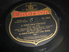 JOSEPH SAMUELS EMERSON 78 RPM RECORD 1063 LARRY BRIERS FIDDLER'S CONTEST