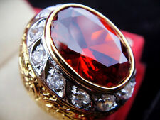 # 13.25 Men Man Gold 24K Ring EAGLE ORANGE Sapphire CZ Gemstone Thai Solitaire