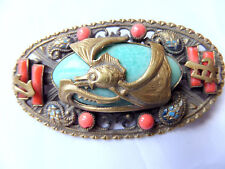 Art Deco Neiger Brothers peking glass Chinese Dragon Brooch