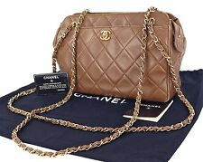 Authentic CHANEL Brown Lambskin Leather Chain Shoulder Bag Purse #15977