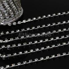 10 Yards Silver Plated Chain w/ Clear Crystal Rhinestone for DIY Jewelry Making