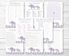 Purple Elephant Baby Shower Games Pack - 8 Printable Games