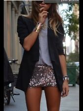 Zara gold sequin shorts taille élastique paillettes hot pants medium m