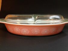 Pyrex Vintage Pink Daisy Divided Casserole Dish with Lid 1-1/2 Quart