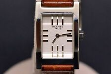 Authentic Hermes Stainless Silver Dial Brown Leather Tandem Quartz Ladies Watch