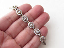 TURKISH WHITE TOPAZ 925K STERLING SILVER OVAL SHAPE TENNIS BRACELET