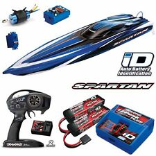 "Traxxas 5709L-1 Spartan 36"" Deep V Brushless Boat Blue RTR w/ 2x Lipo iD/Charger"