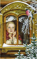 LARGE size Russian card GIRL ARINUSHKA AT THE WINDOW WATCHES ROBIN