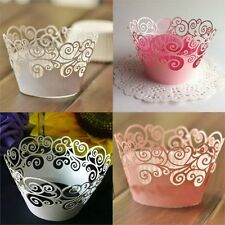 12 pcs Hollow Out Flower Paper Cake Cupcake Liner Case Wrapper Muffin Baking Cup