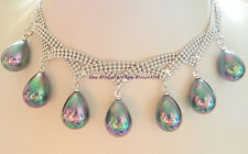 Rare New 12x16mm Black Sea Shell Pearl Seven Star Necklace 17'' AAA