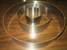 "New ~ Metal Cake Ring Set of Three ~ 2"" Deep ~ Sizes 3"" 6"" & 10"" ~ Baking Mold"