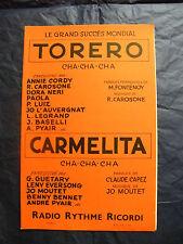 Partition Torero Carosone Carmelita Jo Moutet 1958 Music Sheet