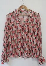 Vintage 90s Womens Blouse Chiffon Loud Crazy Print Size M Party Retro 1990s