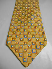 Daniel Cremieux Yellow Silk Necktie w/ Woven Checks and Blue Accents