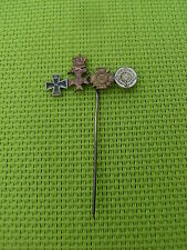 GERMAN -Pin Badge. War Merit Cross Silver, Iron Cross, & KVK in Bronze. 1957 Pat
