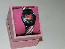 PLAYBOY Watch black red & white stripes strap Design hear face - 100% Authentic