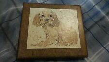 Vintage Brown Colored Lithograph On Wood Cocker Spaniel Puppy Bh Powell Signed