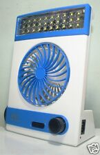 3 in 1 Solar Rechargeable Multi Purpose Fan Light Emergency 30 LED Lamp(Blue)