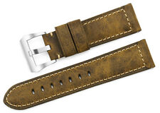 24mm Vintage Genuine Calf Leather Watch Band Strap Matte Steel Clasp For Panerai