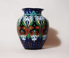 ANTIQUE RUSSIAN EMPIRE BLUE RED GREEN HOT ENAMEL ON COPPER MINIATURE VASE 19cent