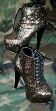 PAPER FOX GLITTER HIGH HEEL BOOTS BOOTIES VEGAS GOTH SHOW GIRL EXOTIC SZ 7.5