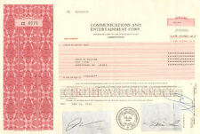 Communications and Entertainment 1996 Jersey City New Jersey stock certificate
