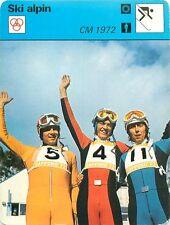 FICHE CARD : CM 1972 Messner Collombin Russi Sapporo Alpine skiing SKI ALPIN 70s