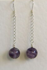 Stunning STERLING SILVER 925 Long EARRINGS AMETHYST Gemstone Hand Made