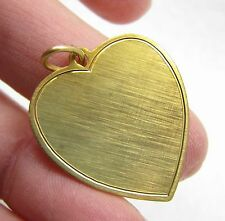 Vintage 12k Gold Filled Heart Love Engraveable Bracelet Charm / Necklace Pendant
