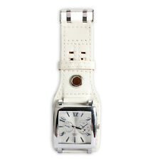 Fashion Women Men Large Square Face Quartz Leather Band Wrist Watch White