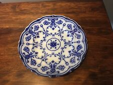 "New Wharf Pottery ""Conway"" Lacey Flow Blue Plate 9"" Wear to Back"""